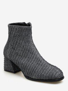 Block Heel Textured Short Boots - Jet Gray Eu 39