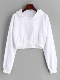 Loopback Cropped Pullover Hoodie - White L