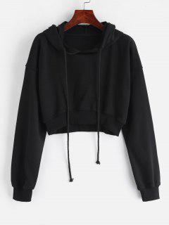 Loopback Cropped Pullover Hoodie - Black L