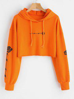 Rose Print Crop Raw Hem Hoodie - Orange S