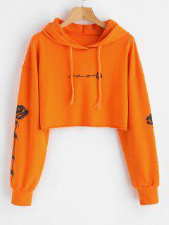 Rosen-Druck Crop Raw Hem Hoodie - Orange  M