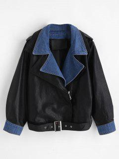 Layered Effect Belted Faux Leather Jacket - Black S