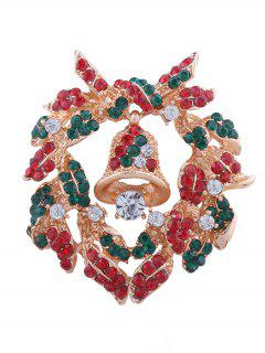 Christmas Bell Rhinestone Inlaid Brooch - Multi