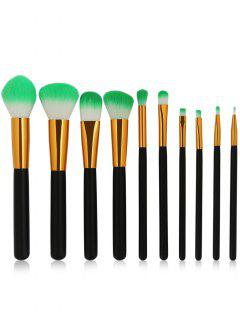 Cosmetic 10Pcs Soften Silky Travel Makeup Brush Suit - Black
