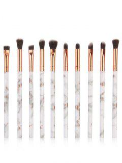 10Pcs Marbles Handles Eyeshadow Blending Eye Makeup Brush Set - Platinum