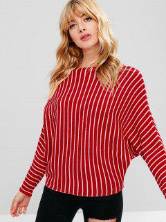 Batwing Striped Sweater - Red