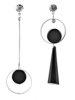 Stylish Rounded Asymmetric Earrings - Silver
