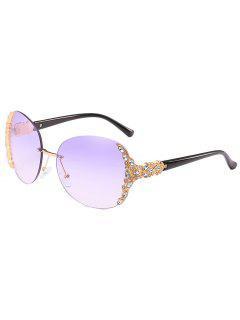 Anti Fatigue Rhinestone Rimless Sunglasses - Purple Dragon