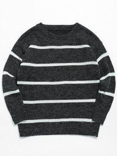 Casual Striped Pullover Knit Sweater - Black L