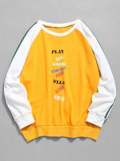 Contrast Raglan Sleeve Letter Sweatshirt - Bright Yellow Xl