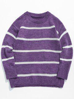 Jersey De Punto Casual Con Rayas - Flor Púrpura Xs