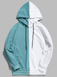 Contrast Patchwork Casual Hoodie - Macaw Blue Green Xl