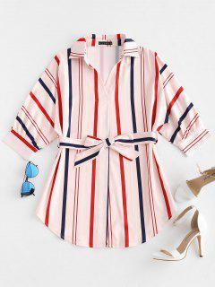 ZAFUL Striped Belted Mini Dress - Pink L