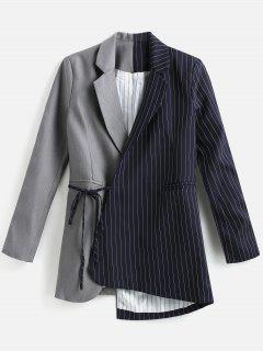 Striped Contrast Asymmetric Blazer - Gray L