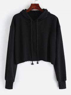 Oversized Raw Cut Cropped Hoodie - Black S