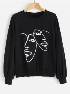 Face Graphic Sweatshirt - Black L