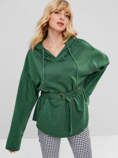 Pullover Hoodie With Elastic Waisted - Green M