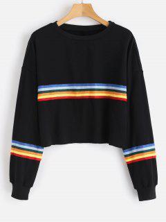 Raw Hem Colorful Striped Sweatshirt - Black M