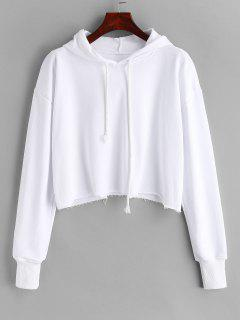 Oversized Raw Cut Cropped Hoodie - White L