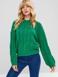 Pull-over Lâche Ajusté En Couleur Unie En Crochet - Vert Trèfle