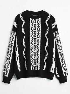 Graphic Crew Neck Sweater - Black