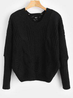 Dolman Sleeves Sweater With Tie - Black