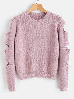 Suéter Recortado Con Imitación De Perlas - Rosado