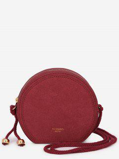 Minimalist Solid Color Crossbody Bag - Red Wine