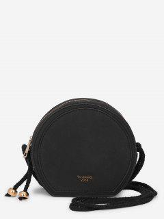 Minimalist Solid Color Crossbody Bag - Black