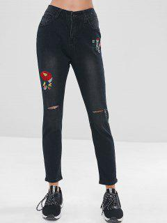 Flower Embroidery Slit Jeans - Black S