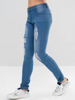 Skinny Distressed Jeans - Denim Blue Xl