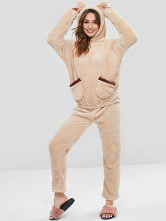 Front Pockets Faux Lamb Hoodie And Pants Pajama Set - Apricot Xl