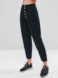 Solid Color Button Fly Corduroy Pants - Black Xl