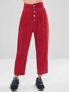 Pantalon En Velours Côtelé à Bouton De Couleur Unie - Rouge L