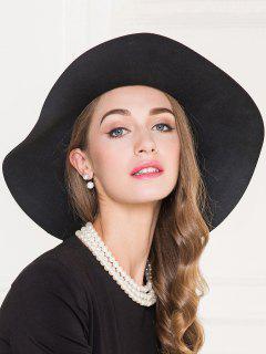 Elegant Wide Brim Tea Party Fedora Hat - Black