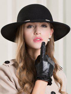 British Style Wide Brim Fedora Hat - Black