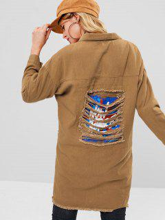 Ripped Graphic Back Long Denim Jacket - Light Brown L