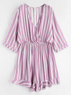 Plus Size Striped Romper - Mauve 2x