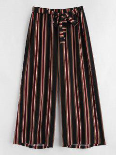 Tie Waist Striped Plus Size Pants - Multi 1x