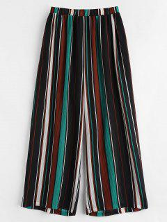 Semi-sheer Striped Plus Size Pants - Multi 1x