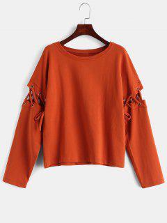 Lace Up Grommet Sleeves Sweatshirt - Halloween Orange L