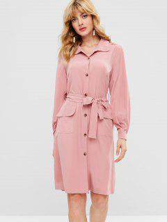 Flowing Patch Pocket Belted Shirt Dress - Pink L