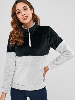 Half Zip Two Tone Velvet Sweatshirt - Black M
