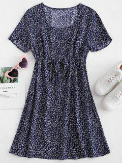 ZAFUL Drawstring Tiny Floral Mini Dress - Midnight Blue M