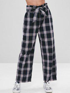 ZAFUL Belted Wide Leg Plaid Pants - Black L
