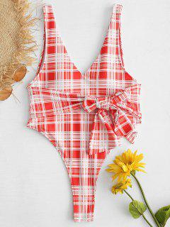 ZAFUL Tartan Knotted Backless One Piece Swimsuit - Red M