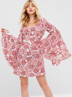 ZAFUL Tropical Print Bell Sleeve Dress - Red L