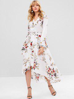 ZAFUL - Langärmliges Crossover-Kleid Mit Gürtel - Weiß L