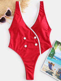 ZAFUL Button Embellished Plunging Backless Swimsuit - Red L