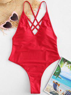 ZAFUL Criss Cross Backless Swimsuit - Rojo S